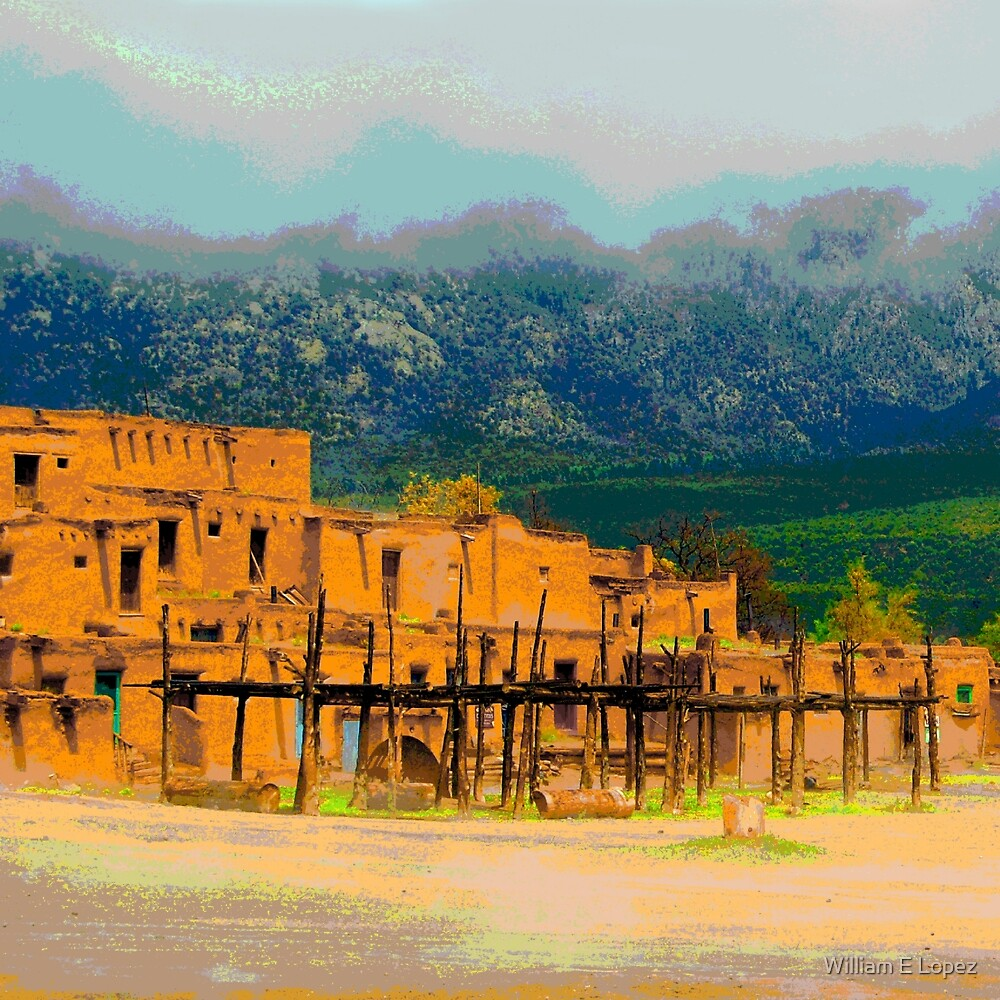 Southwest Panorama of Taos, NM by William E Lopez