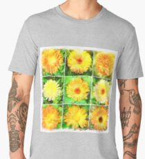 Watercolour Collage of Yellow And Orange Marigolds Men's Premium T-Shirt