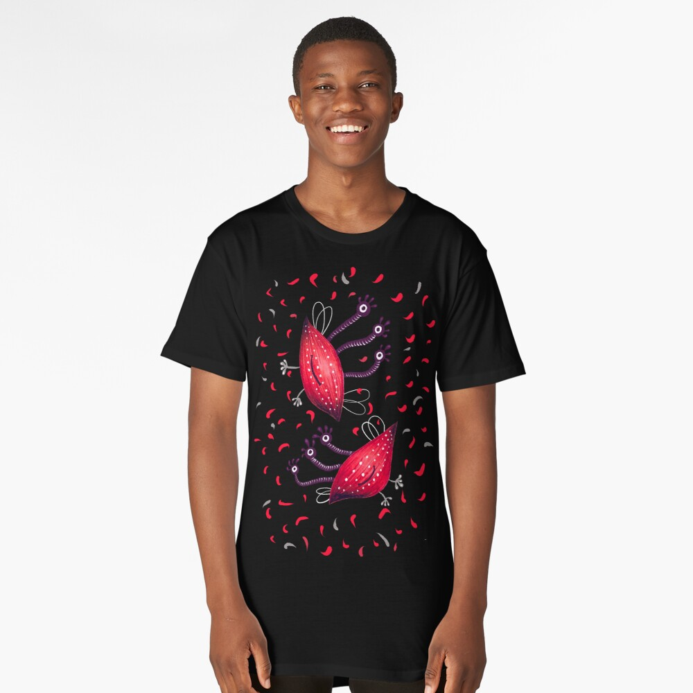 Funny Red Three Eyed Aliens Long T-Shirt Front