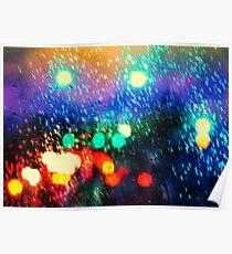 Rainy city light Poster