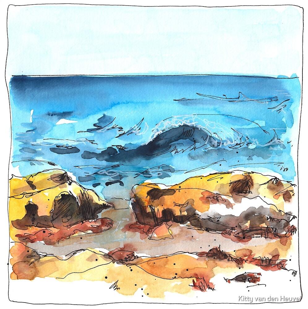 Rocky beach in California watercolor painting by Kitty van den Heuvel