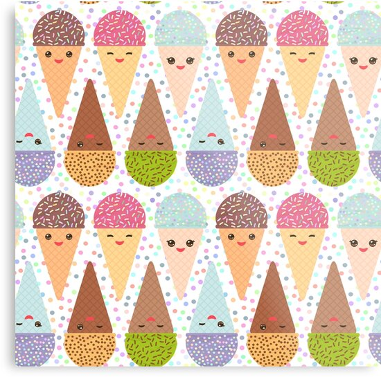 Kawaii mint raspberry chocolate Ice cream waffle cone, pastel polka dot background by EkaterinaP