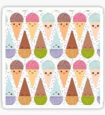 Kawaii mint raspberry chocolate Ice cream waffle cone, pastel polka dot background Sticker