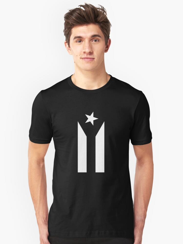 puerto rico flag black and white Unisex T-Shirt Front