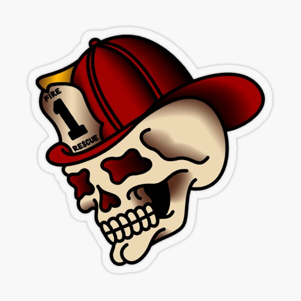 Traditional Firefighter Skull Transparent Sticker