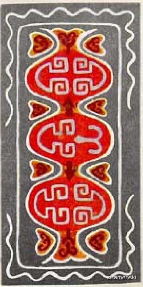 Ковровый узор балкарского или карачаевского войлочного ковра - Carpet pattern of the Balkarian or Karachai felt carpet. by znamenski