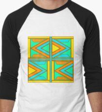 Retro Triangular Patterns Men's Baseball ¾ T-Shirt