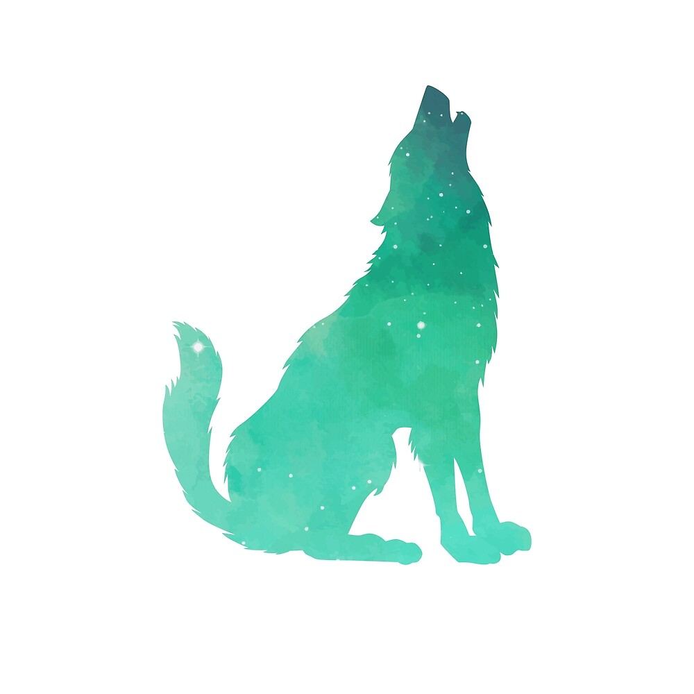 Watercolor Howling Wolf by Adele Mawhinney