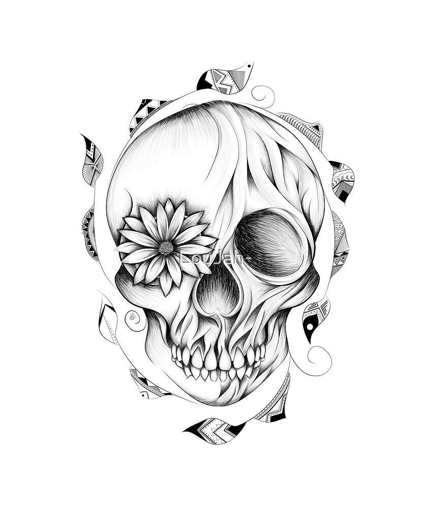 Poetic Wooden Skull B&W by LouJah-