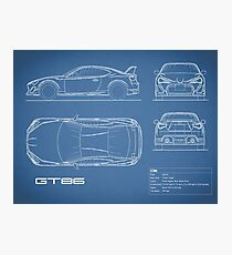 Car blueprint wall art redbubble the gt86 blueprint photographic print malvernweather Choice Image