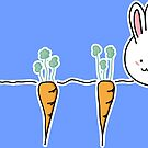 Cute Kawaii Rabbit and Carrots by Fiona Reeves