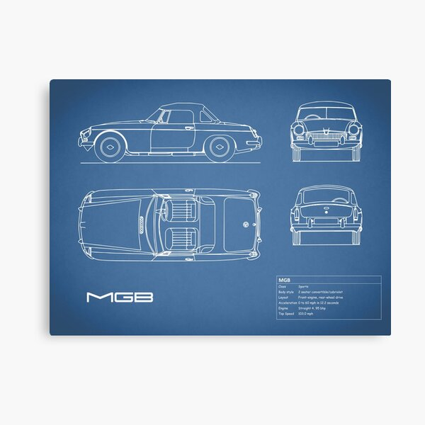 The MGB Blueprint Canvas Print