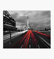 Zakim Bridge and TD Garden Boston MA Red Tail Lights Photographic Print
