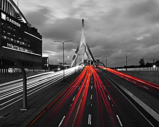 Zakim Bridge and TD Garden Boston MA Red Tail Lights by WayneOxfordPh