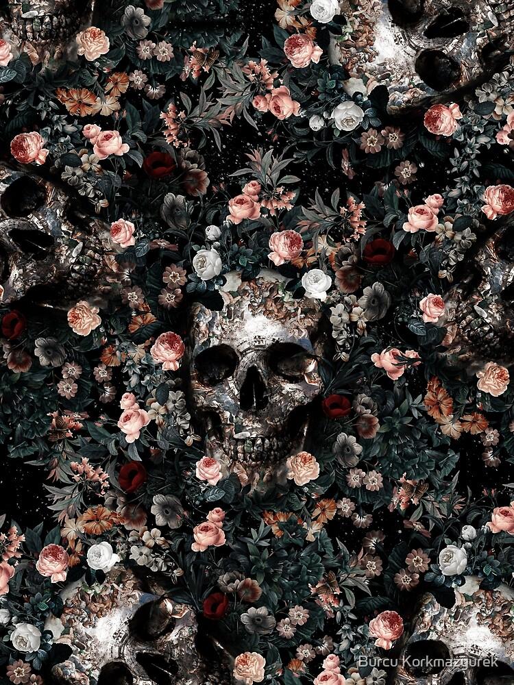 Skull and Floral pattern by Burcu Korkmazyurek