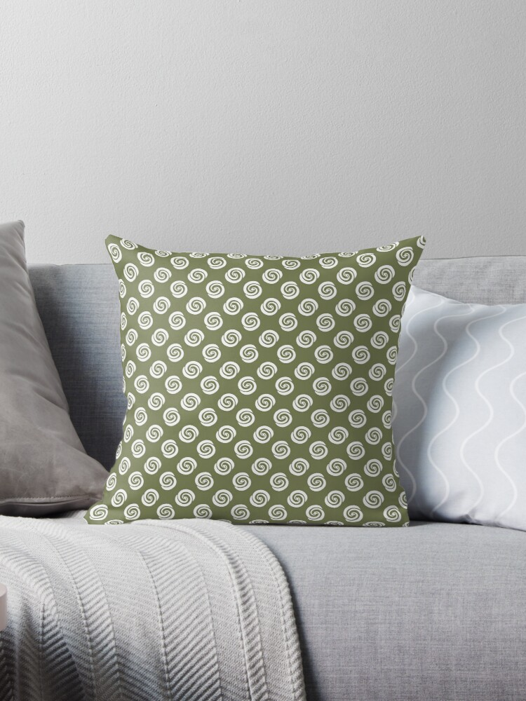 White Swirly Dots on Green Retro Pattern by coverinlove