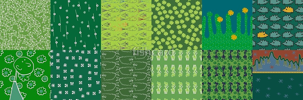 Patchwork of green images with different patterns by fishcard