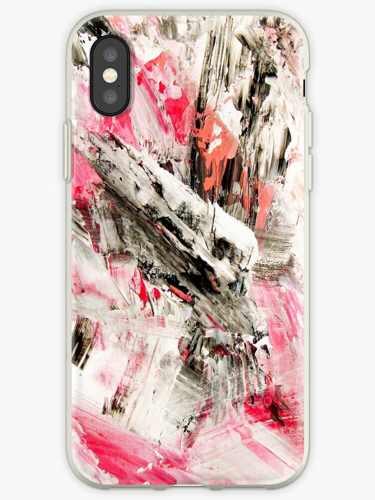 Candy Modern abstract pink salmon black grey acrylic brushstrokes painting by GirlyTrend