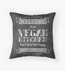 Chalkboard Black and White Welcome to our Vegan Kitchen Bon Appetit Throw Pillow
