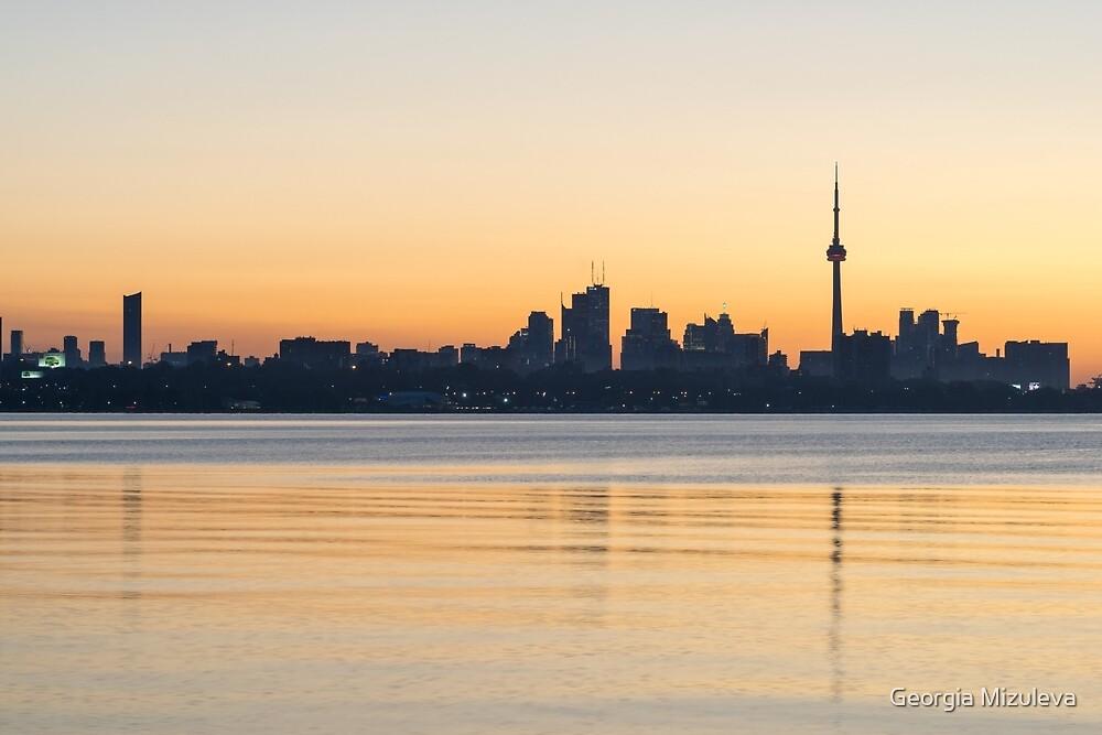 Blue Breeze - Predawn Silhouette of Toronto Skyline Over Water by Georgia Mizuleva