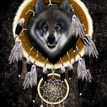 indian native gray wolf dreamcatchers by GreenLight08