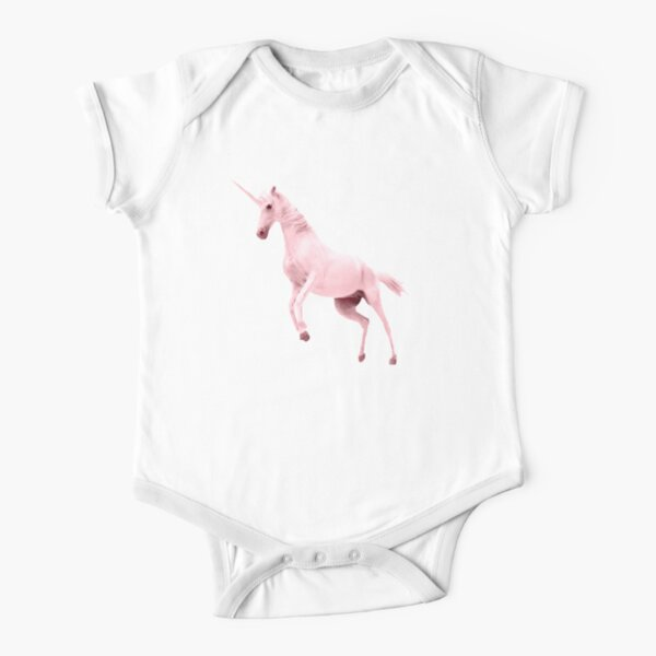 Pink Unicorn by Alice Monber Short Sleeve Baby One-Piece