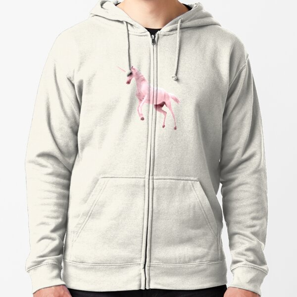 Pink Unicorn by Alice Monber Zipped Hoodie
