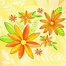 Summer yellow flowers with green leaves by ekvikoncey