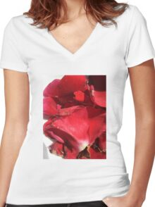 Red rose petals 2 Women's Fitted V-Neck T-Shirt