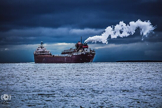 Freighter in a Storm by LittleRedLens