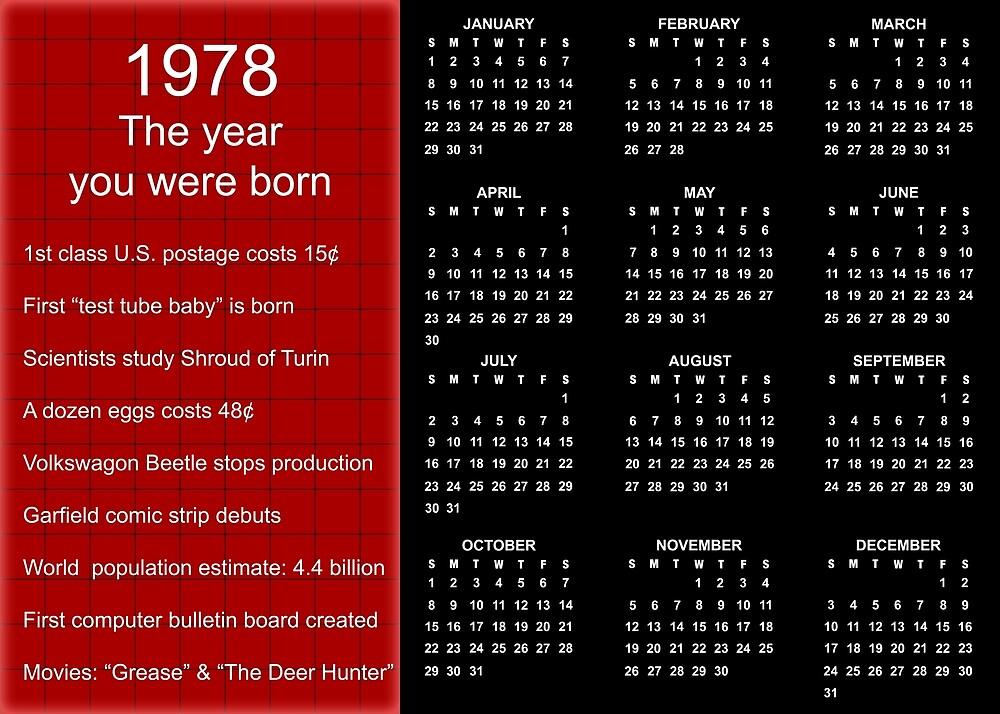 Happy Birthday Born in 1978 Calendar Poster by Colorwash