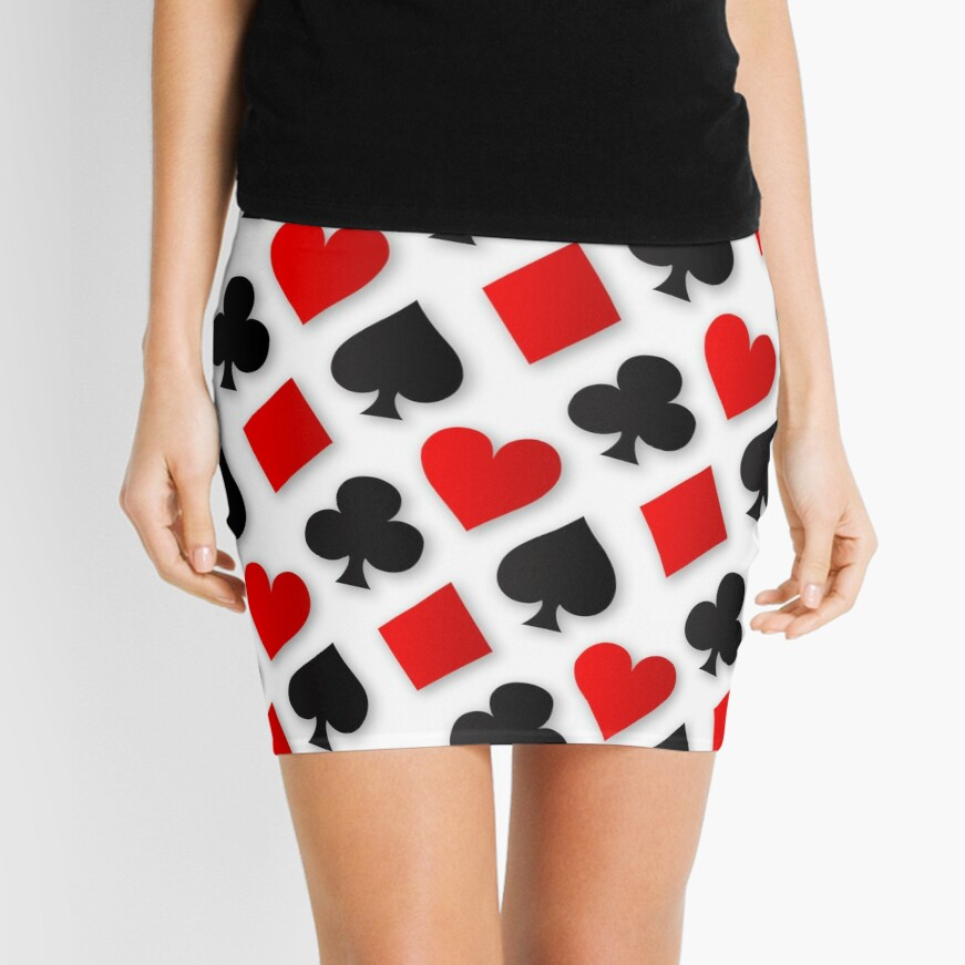 Playing Card Suits Collage Mini Skirt