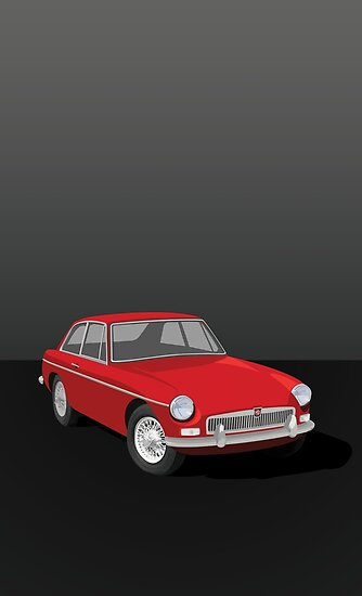 MGB GT Graphic Poster -Red by NickShirrell