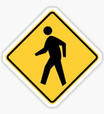 Road Sign: Beware Pedestrians Sticker