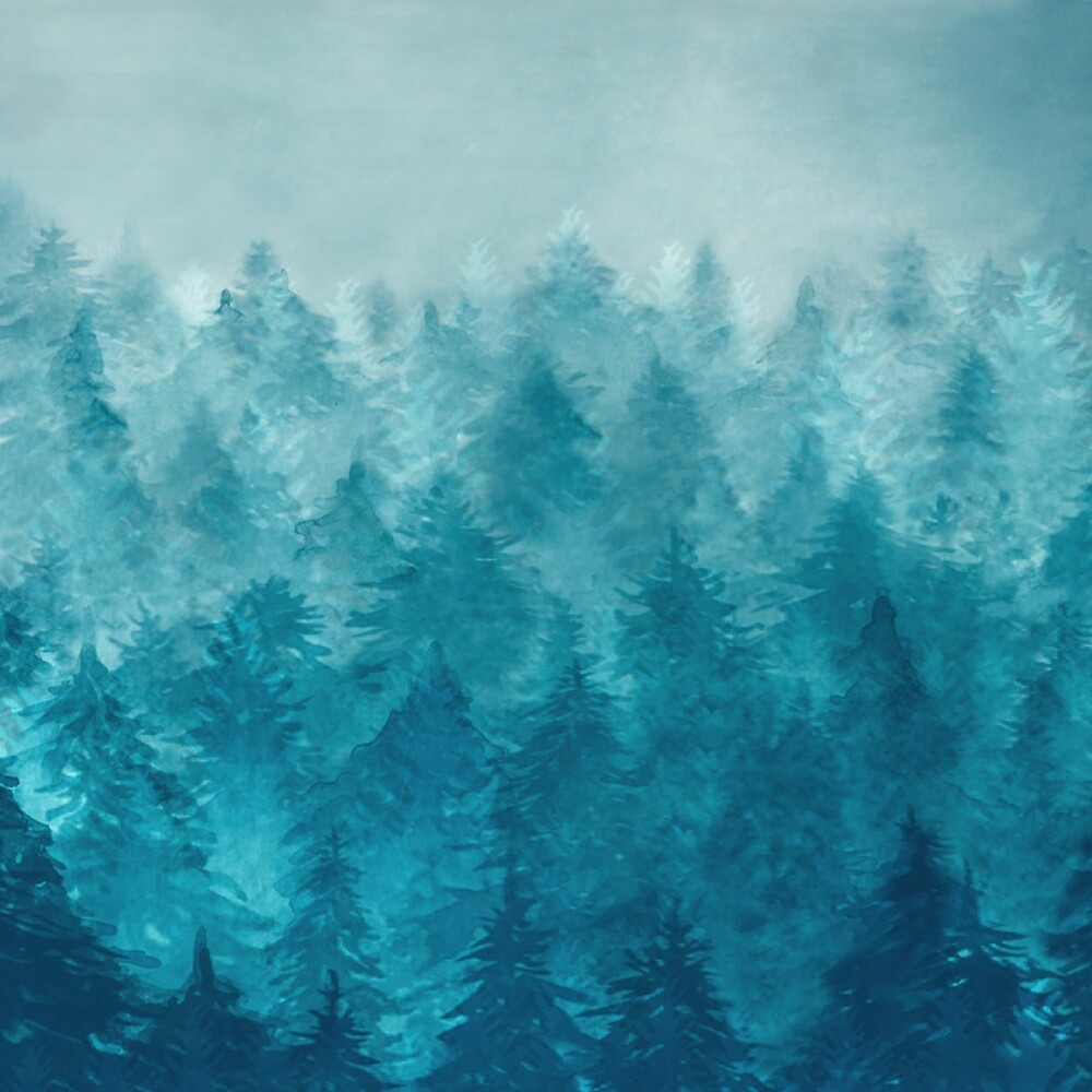 Misty Pine Forest by Nadjaa