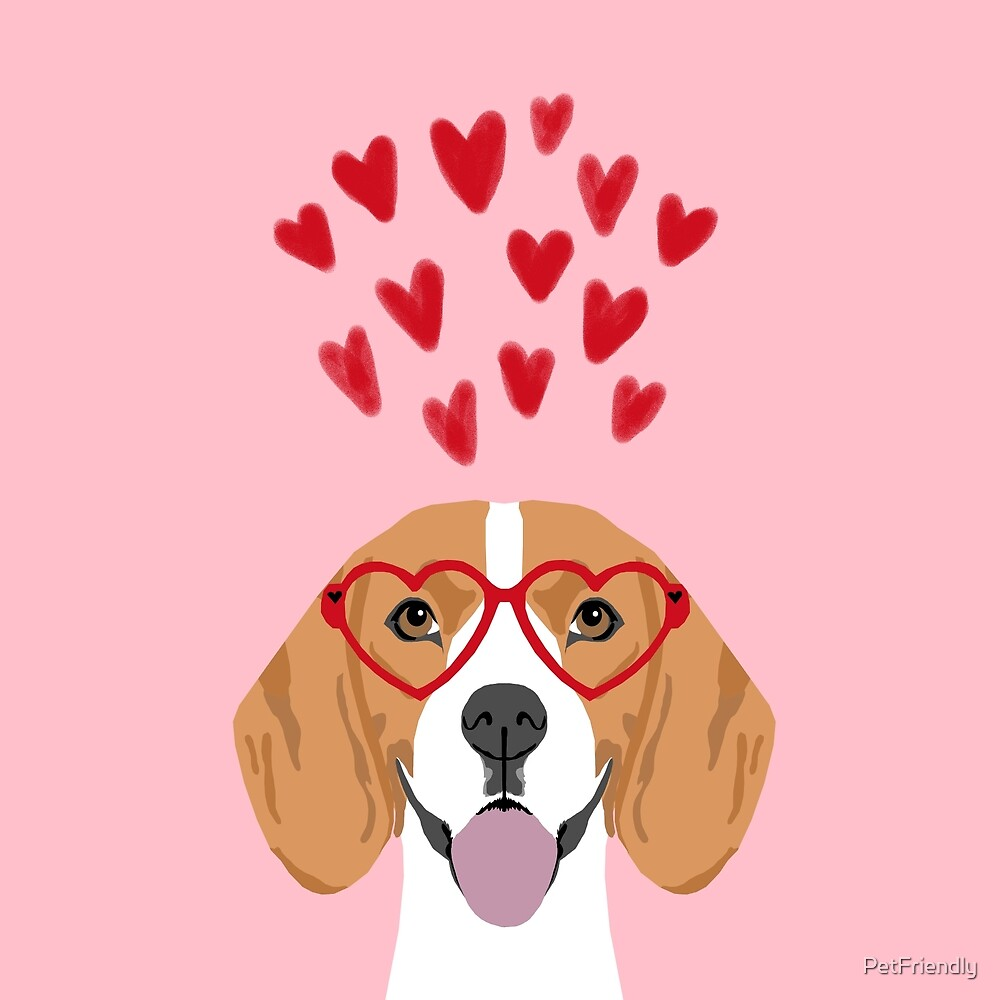 Quot Beagle Head Love Hearts Valentines Day Dog Breed Must