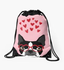 Boston Terrier head love hearts valentines day dog breed must have gifts Drawstring Bag