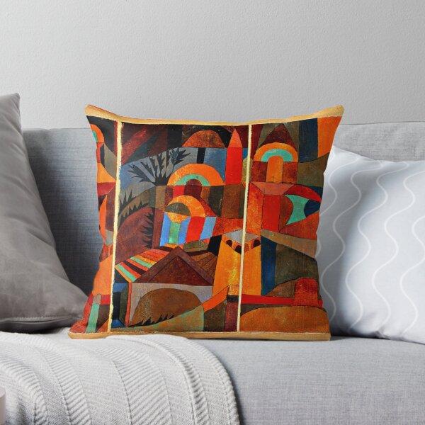 Klee - Temple Gardens, abstract art Throw Pillow