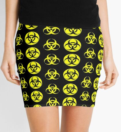 Biohazard Yellow on Black Mini Skirt