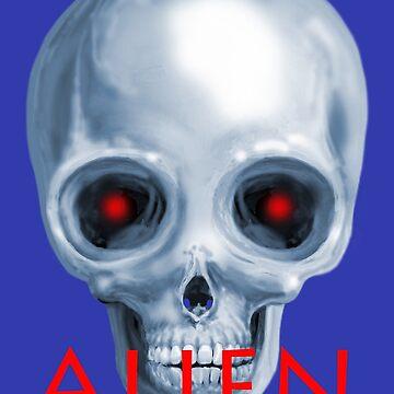 Alien Skull, Blue & Red by lewisroland