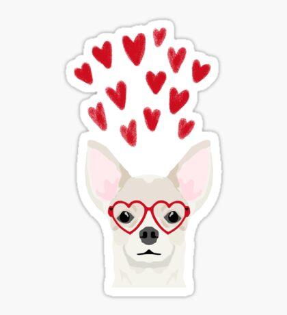 Chihuahua head dog gifts valentines day love hearts chihuahuas chiwawa Sticker
