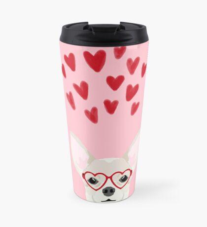 Chihuahua head dog gifts valentines day love hearts chihuahuas chiwawa Travel Mug