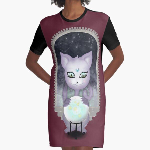 Mystic Miku | Crystal Ball & Zodiac | Wine Red Graphic T-Shirt Dress