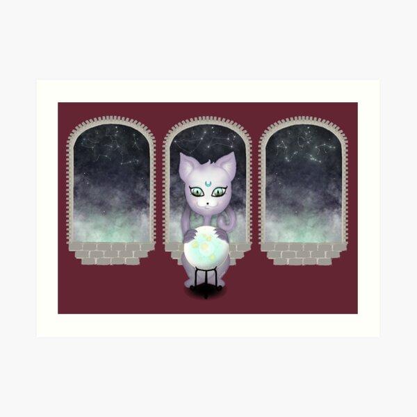 Mystic Miku | Crystal Ball & Zodiac | Wine Red Art Print