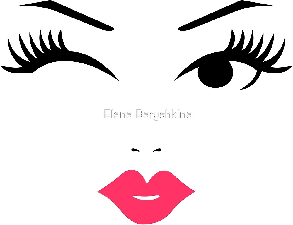 Cute girl face with pink lips by Elena Baryshkina