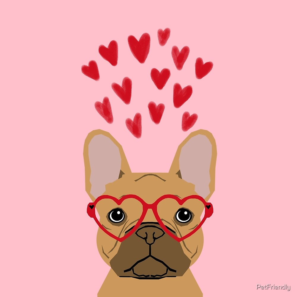 French Bulldog head valentines day love hearts dog breed frenchies  by PetFriendly