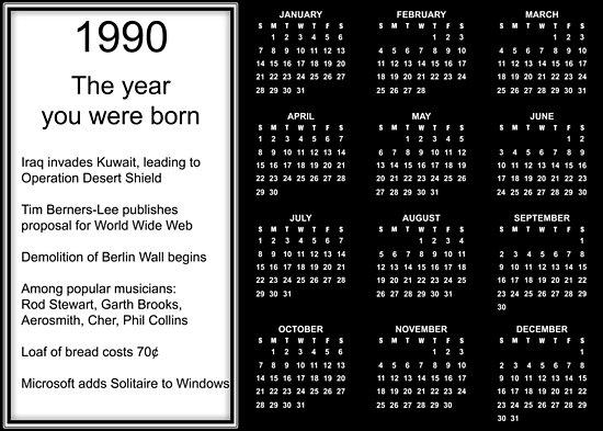 1990 Calendar.Happy Birthday Born In 1990 Calendar Poster Poster By Colorwash