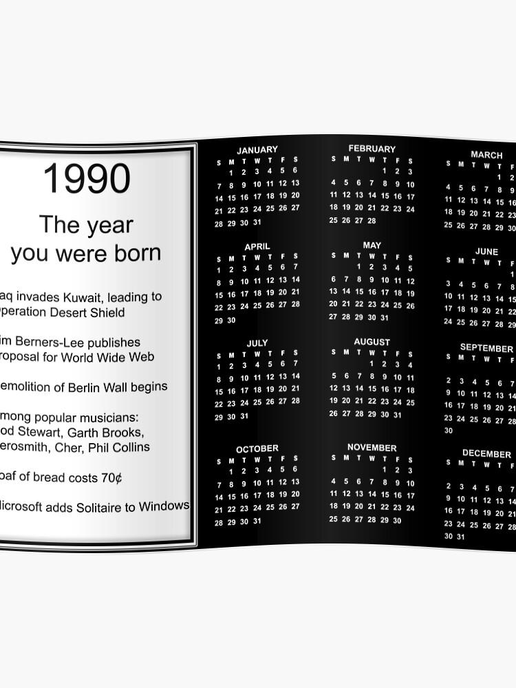 1990 Calendario.Feliz Cumpleanos Nacido En 1990 Cartel Del Calendario Poster