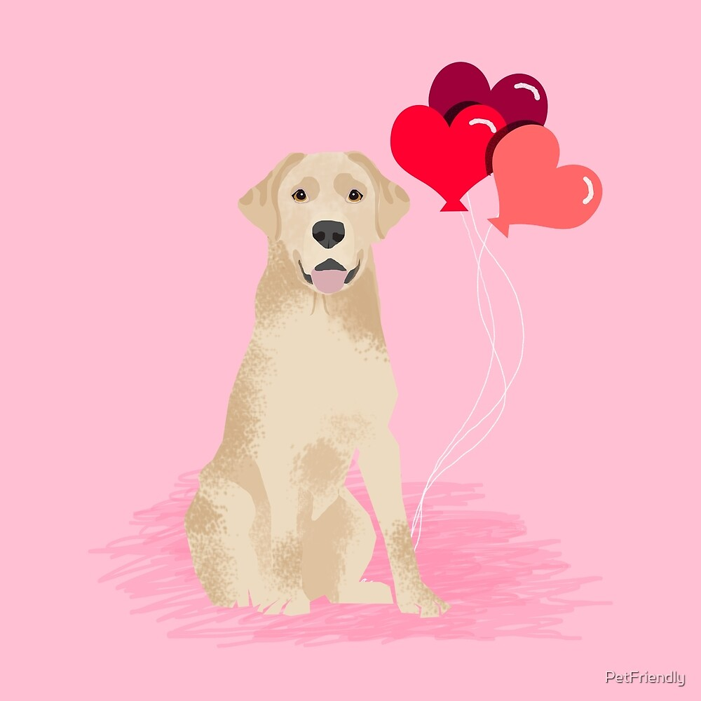 Labrador Retriever yellow lab valentines day dog breed gifts heart balloons by PetFriendly