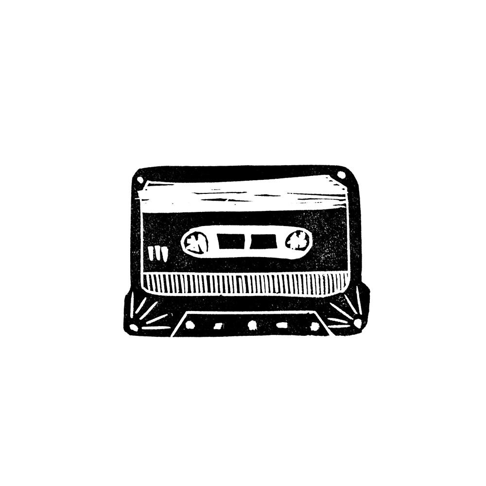 Linocut cassette tape retro analog tape 80s 90s technology gifts by monooprints